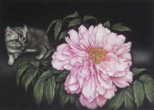 牡丹と仔猫